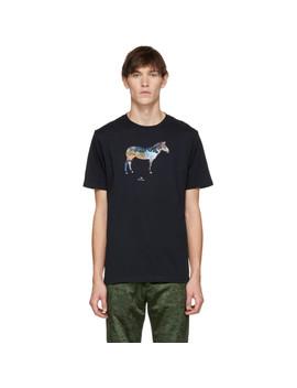 Navy Graffiti Zebra T Shirt by Ps By Paul Smith