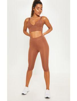 Brown Basic 3/4 Gym Legging by Prettylittlething