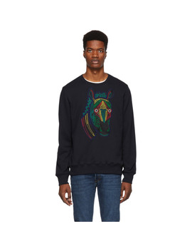Navy Embroidered Zebra Sweatshirt by Ps By Paul Smith