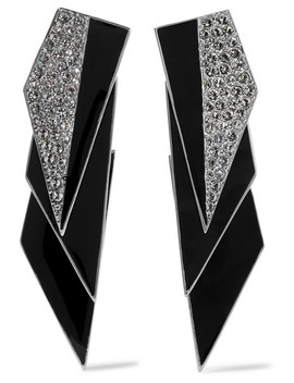 Smoking Silver Tone, Enamel And Crystal Clip Earrings by Saint Laurent