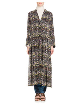 Long Sleeve V Neck Button Front Blossom Print Georgette Duster Jacket by Chloe