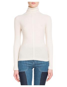 Long Sleeve Fine Ribbed Wool Turtleneck Sweater by Chloe