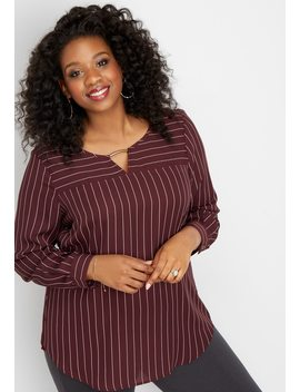 Plus Size Bar Neck Stripe Tunic Blouse by Maurices