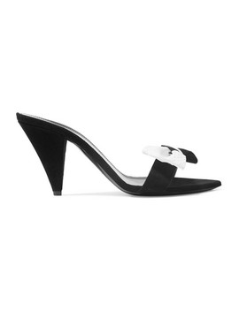 Era Bow Embellished Suede And Snake Mules by Saint Laurent