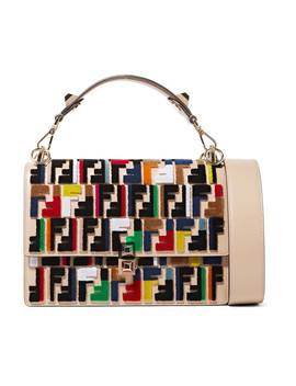 Kan I Velvet Appliquéd Leather Shoulder Bag by Fendi