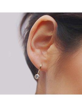 Cz Huggie Hoop Earrings   Huggie Pendant Earrings   Hoop Earrings   Dainty Hoops   Tiny Hoops   Thin Hoops   Minimalist Earrings by Etsy