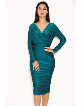 Teal Ruched Wrap Dress by Ax Paris