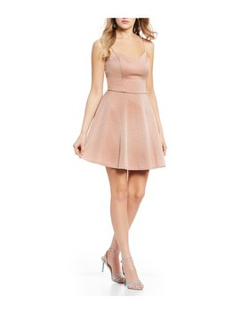 Glitter V Neck Strappy Back Fit And Flare Dress by I.N. San Francisco