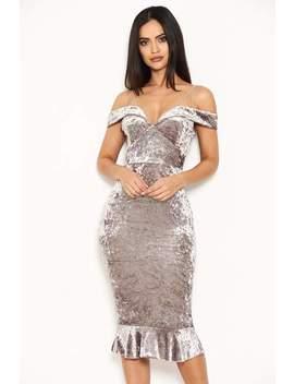 Grey Velvet Off The Shoulder Midi Dress With Frill Hem by Ax Paris