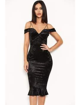 Black Velvet Off The Shoulder Midi Dress With Frill Hem by Ax Paris
