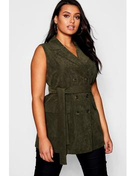 Plus Ruched Belted Sleeveless Horn Button Down Blazer by Boohoo