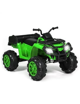 Best Choice Products 12 V Kids Powered Large Atv Quad 4 Wheeler Ride On Car W/ 2 Speeds, Spring Suspension, Mp3, Lights, Storage   Green by Best Choice Products