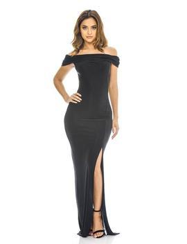 Black Off The Shoulder   Slinky Maxi Dress by Ax Paris