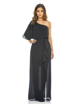 Black One Shoulder Maxi    Dress by Ax Paris