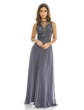 Grey Crochet Top Maxi Dress by Ax Paris