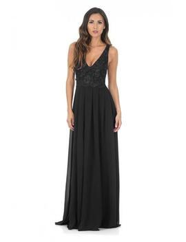 Black V Front Lace Top Maxi Dress by Ax Paris