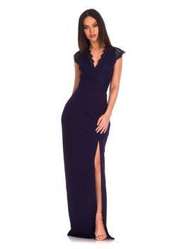 Navy Lace Wrap Over Maxi Dress by Ax Paris