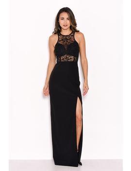 Black Lace Top Maxi Dress by Ax Paris