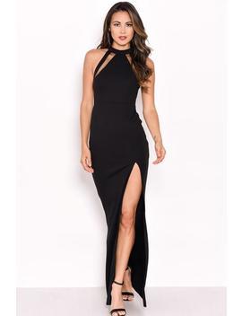 Black Mesh Detailing Maxi Dress by Ax Paris