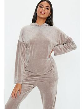 Tall Grey Velour Oversized Hoody by Missguided