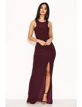 Plum Lace Detailing Maxi Dress by Ax Paris