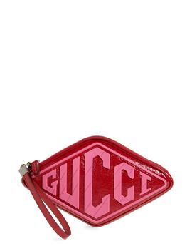 Logo Graphic Leather Wristlet by Gucci