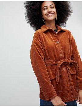 Красно бурая вельветовая куртка с ремнем Monki by Asos