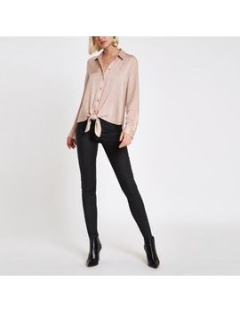 Beige Tie Front Loose Shirt by River Island