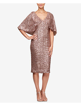Sequined Capelet Dress by Alex Evenings