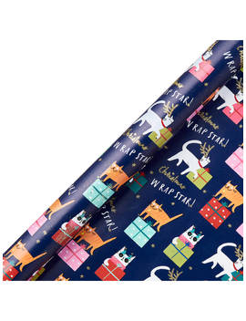 John Lewis & Partners Rainbow Christmas Cats Gift Wrap, 3m by John Lewis & Partners