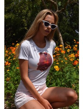 White Cotton Psychedelic T Shirt by Bambie Lane