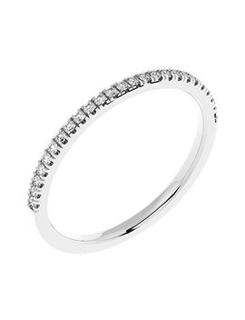 0.15 Carat Round Diamond Thin Micro Pave Set Half Eternity Ring In White Gold by Buy Fine Diamonds