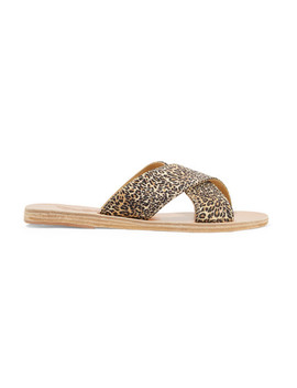 Thais Leopard Print Satin And Leather Slides by Ancient Greek Sandals