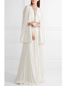 Cape Effect Embellished Plissé Crepe De Chine Gown by Jenny Packham