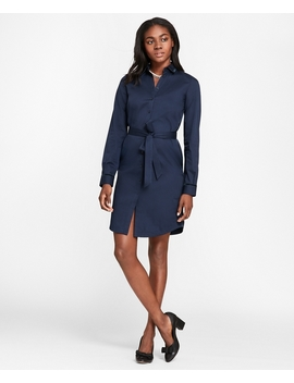 Velvet Trimmed Cotton Sateen Shirt Dress by Brooks Brothers