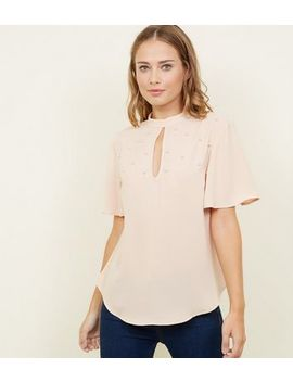 Pale Pink Faux Perl Studded Top by New Look