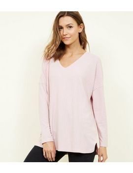 Pale Pink Ribbed Brushed Jersey Top by New Look
