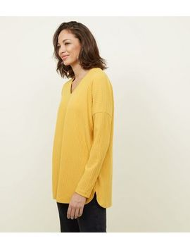 Mustard Ribbed Brushed Jersey Top by New Look