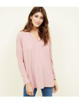 Pink  Ribbed Brushed Jersey Top by New Look