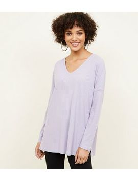 Lilac Ribbed Brushed Jersey Top by New Look