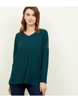Dark Green Ribbed Brushed Jersey Top by New Look