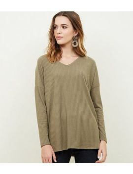 Khaki Ribbed Brushed Jersey Top by New Look