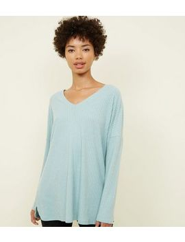Light Green Ribbed Brushed Jersey Top by New Look