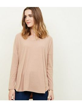 Camel Ribbed Brushed Jersey Top by New Look