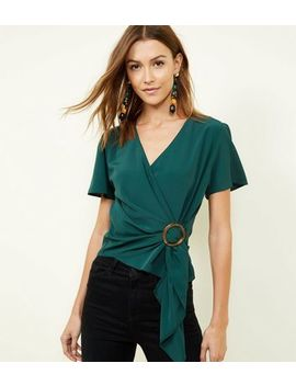 Dark Green Faux Horn Ring Buckle Wrap Top by New Look