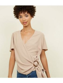 Camel Faux Horn Ring Buckle Wrap Top by New Look
