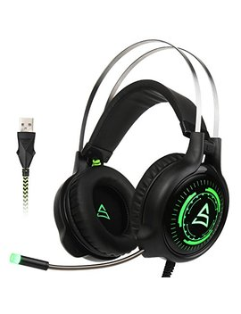 [2017 Newly Updated Usb Gaming Headset] Supsoo G815 Gaming Headphone Computer Over Ear Bass Stereo Gaming Headsets With Mic Noise Isolating Volume Control Led Light For Pc & Mac (Black & Green ) by Supsoo