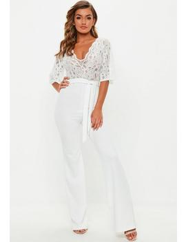 White Lace Plunge Kimono Sleeve Jumpsuit by Missguided