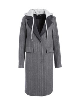 Gray & White Stripe Sweatshirt Hood Wool Overcoat   Women by Zulily