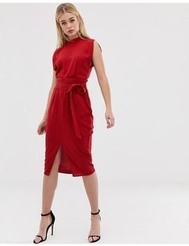Asos Design Split Sleeve Midi Dress With Obi Belt by Asos Design